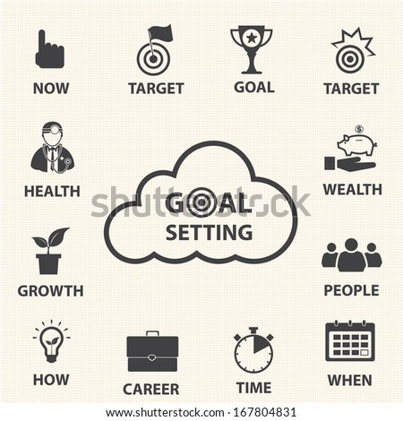 Business icon set, Smart goal setting