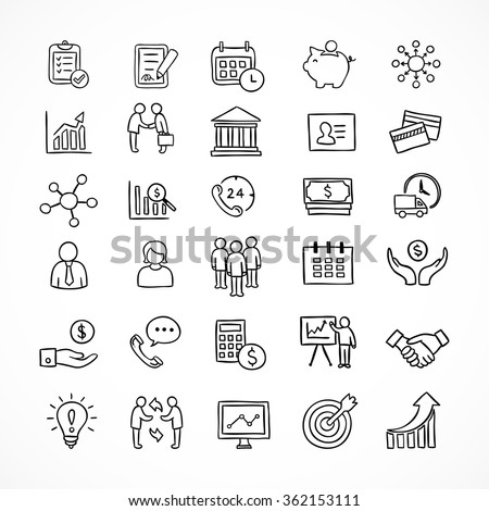 Business icons and infographic elements. Hand drawn office and finance symbols.