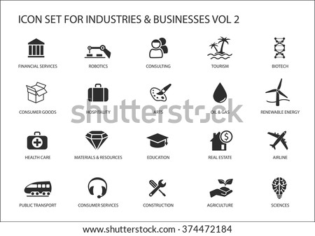 Business icons and symbols of various industries / business sectors like consulting,tourism,hospitality,agriculture,renewable energy,real estate,consumer services,construction,financial services