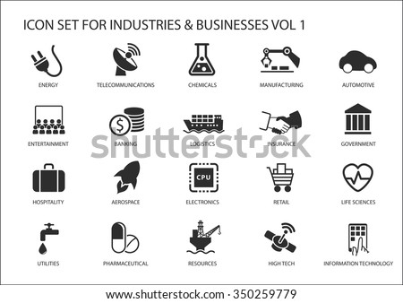 Business icons and symbols of various industries / business sectors like financial services industry, automotive, life sciences, resources industry, entertainment industry and high tech - Shutterstock ID 350259779