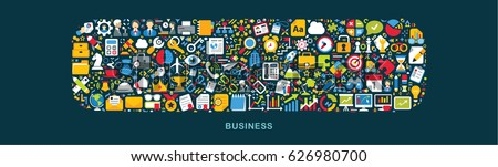 Business icons are grouped in