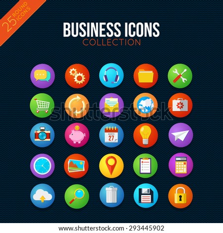 Business icons collection. Smart watch UI style. 25 vector items.