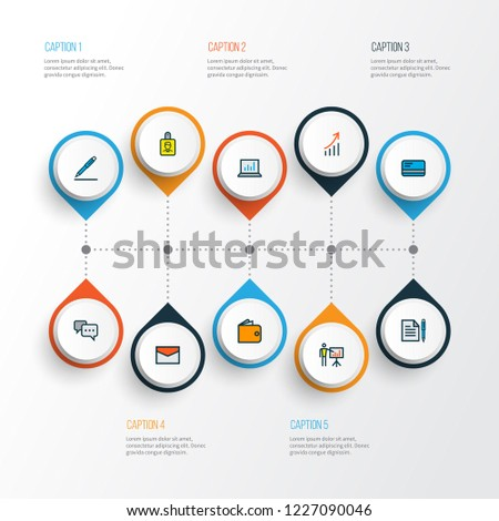 Business icons colored line set with id badge, cash, growing stats and other conversation elements. Isolated vector illustration business icons.