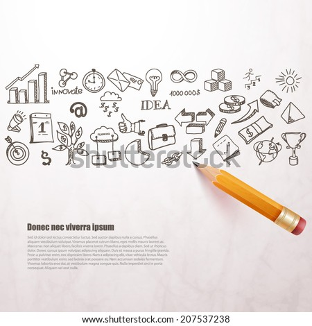 business icons drawn in pencil. Vector background.
