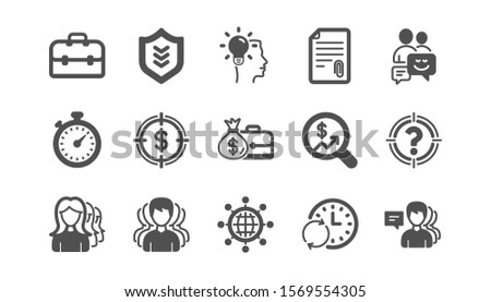 Business icons. Group of people, Portfolio and Teamwork icons. User profile classic icon set. Quality set. Vector