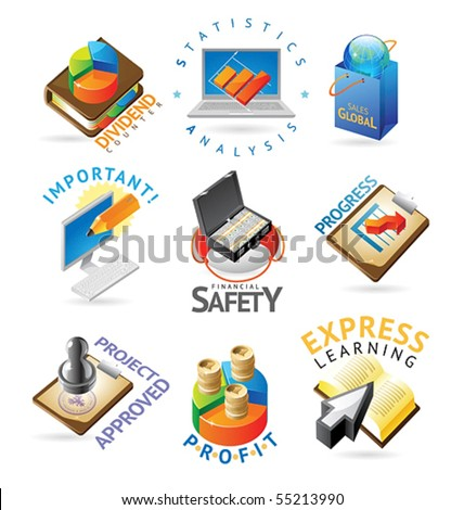 Business icons. Heading concepts for document, article or website. Vector illustration.