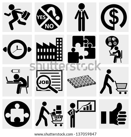 business icons, human resource, finance, logistic icon set