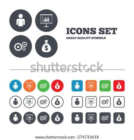 Business icons. Human silhouette and presentation board with charts signs. Dollar money bag and gear symbols. Web buttons set. Circles and squares templates. Vector