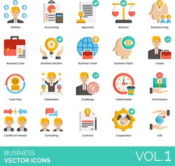 Business icons including abilities, accounting, brainstorming, case, solution, travel, vision, career, cash flow, celebration, challenge, coffee break, commission, conflict of interest, consulting.