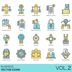 Business icons including employee cost, budget balance, accounting, loan, invoice, sponsor investment, funds protection, market forecast, challenge, deadline, teamwork, customer service, relationship.