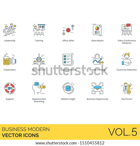 Business icons including leadership, training, office affair, report, webinar, celebration, recruitment, quality control, growth hacking, customer retention, support, opportunity searching, insight.