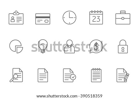 Business icons line black