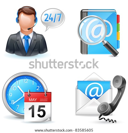 business icons - live chart, address book, contact us, appointment