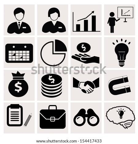 business icons on white background