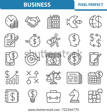 Business Icons. Professional, pixel perfect icons optimized for both large and small resolutions. EPS 8 format. 2x size for preview.