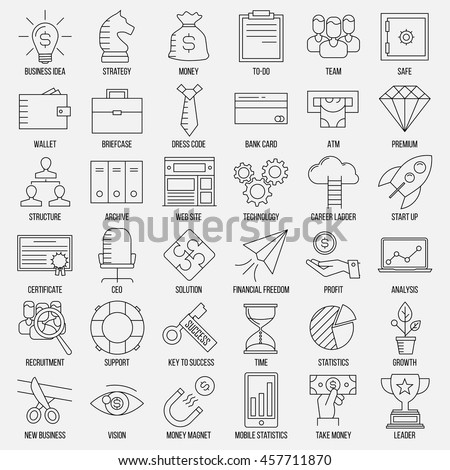 Business icons. Safe, wallet, archive, career ladder, key to success, money magnet and other things. Line art vector illustration.