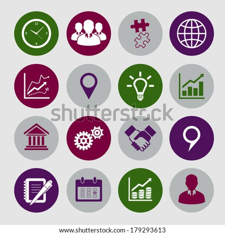 Business icons set and design elements for infographics presentation isolated vector illustration