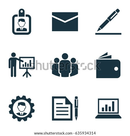 Business Icons Set. Collection Of Billfold, Contract, Leader And Other Business Icons Elements. Also Includes Symbols Such As Manager, Leader, Pen.