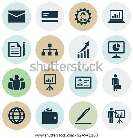 Business Icons Set. Collection Of Leader, Earth, Contract And Other Elements. Also Includes Symbols Such As Group, Presentation, Purse.
