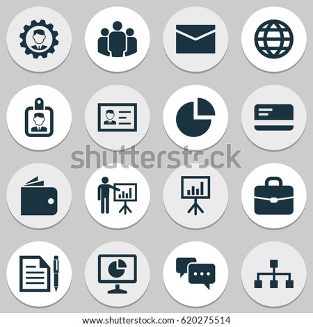 Business Icons Set. Collection Of Payment, Statistics, Presentation Board And Other Elements. Also Includes Symbols Such As Letter, Pen, Hierarchy.