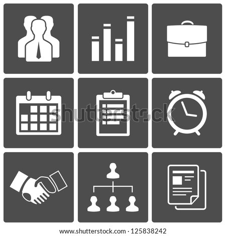 Business icons set: handshake, staff, chart, suitcase, report, calendar