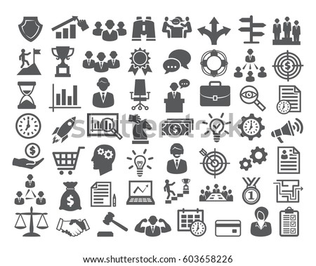 Business icons set. Icons for business, management, finance, strategy, marketing. - Shutterstock ID 603658226