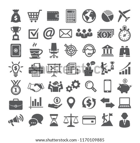 Business icons set. Icons for business, management, finance, strategy, marketing on white