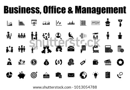 Business icons set. Icons for business, office, management, finance, strategy, marketing.