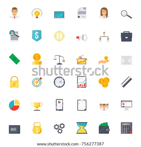 Business icons set in flat style for any design vector illustration