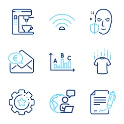 Business icons set. Included icon as Dry t-shirt, Coffee maker, Survey results signs. Signing document, Face protection, Settings gear symbols. Wifi, Euro money line icons. Line icons set. Vector