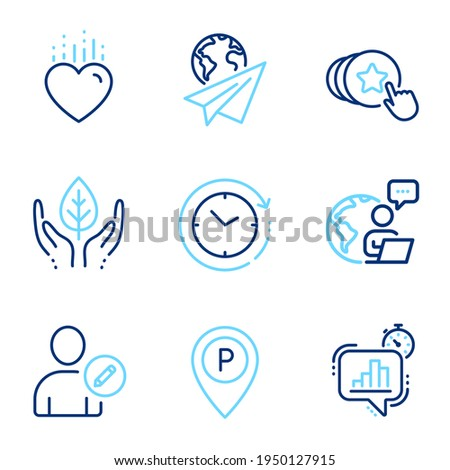 Business icons set. Included icon as Edit user, Fair trade, Time change signs. Heart, Statistics timer, Paper plane symbols. Parking, Hold heart line icons. Profile data, Safe nature. Vector