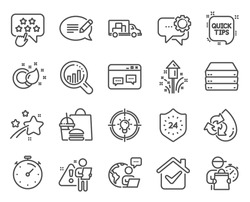 Business icons set. Included icon as Employees messenger, Quick tips, Servers signs. Paint brush, Truck transport, Ranking star symbols. Recycle water, Idea, Message. Seo analysis, Timer. Vector