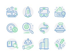 Business icons set. Included icon as Justice scales, Bus, Search statistics signs. Bus travel, Employees talk, Skyscraper buildings symbols. Cream, Usd coins, Timeline. Rocket, Search book. Vector