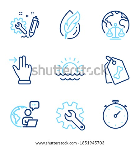 Business icons set. Included icon as Magistrates court, Touchscreen gesture, Timer signs. Sunset, Engineering, Hypoallergenic tested symbols. Pet tags, Customisation line icons. Line icons set. Vector Foto d'archivio ©