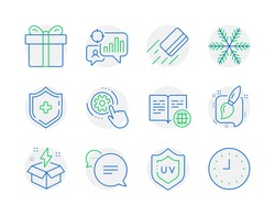 Business icons set. Included icon as Text message, Uv protection, Internet book signs. Creative idea, Cogwheel settings, Painting brush symbols. Medical shield, Seo statistics, Snowflake. Vector