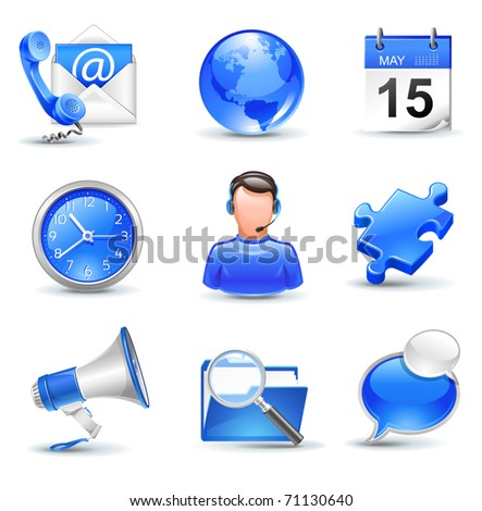 business icons set - mail,  contact, calendar, callcenter, clock, globe, news, search, chat