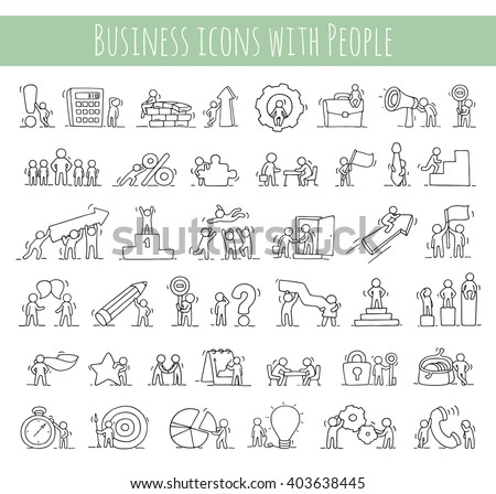 Business icons set of sketch working little people with money, teamwork. Doodle cute miniature scenes of workers. Hand drawn cartoon vector illustration for business design and infographic.