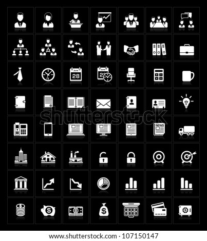 Business icons set on black