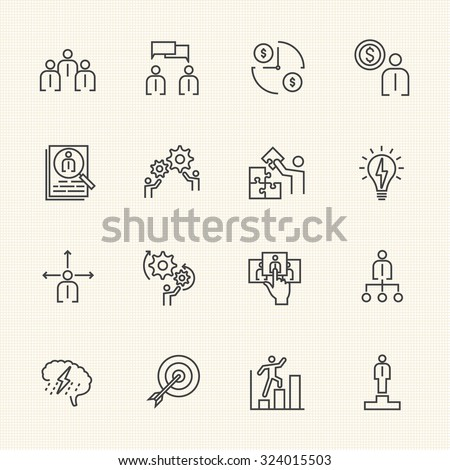 Business Icons Set, Team building concept
