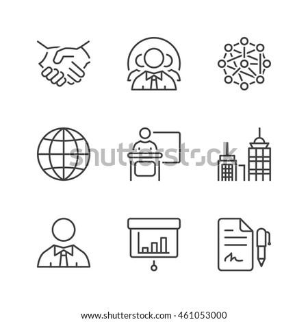 business icons set, thin line, black color