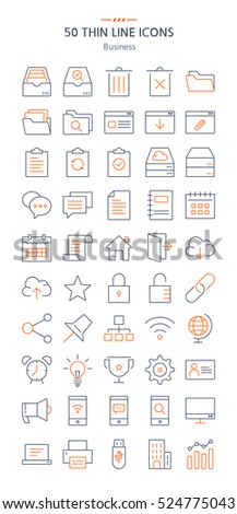 Business icons set. Thin line icons.
