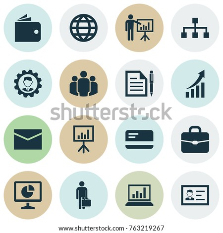 Business icons set with hierarchy, envelope, group and other payment elements. Isolated vector illustration business icons.