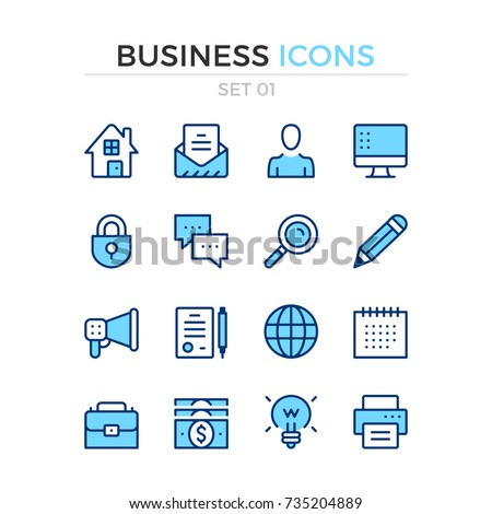 Business icons. Vector line icons set. Premium quality. Simple thin line design. Modern outline symbols, pictograms.
