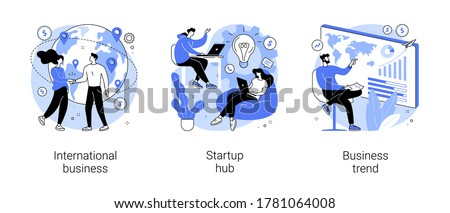 Business idea abstract concept vector illustration set. International business, startup hub, business trend analysis, entrepreneur, IT innovation, partnership, startup incubator abstract metaphor.