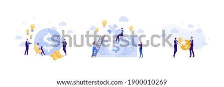 Business idea and finance success concept. Vector flat people illustration set. Jigsaw puzzle with dollar currency sign. Businessman and busineswoman in suit. Team make money symbol.