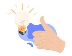 Business idea concept. Hand with thumbs up. Great idea, innovative solution, business, creative idea concept. Flat design graphic elements for web sites, web banner, infographic. Vector illustration