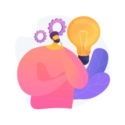 Business idea generation. Plan development. Pensive man with lightbulb cartoon character. Technical mindset, entrepreneurial mind, brainstorming process. Vector isolated concept metaphor illustration