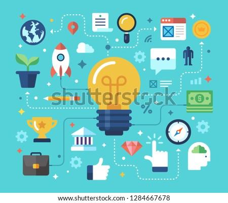 Business Idea, Inovation, Big Idea, Clever Solution. Flat design modern vector illustration concept.