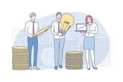 Business, idea, profit, money, analysis concept. Young team of businessmen woman clerks managers earning coins or making financial investments. Growth of income and raising capital assets illustration