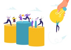 Business idea success concept, vector illustration. Flat people work and reach to creativity, teamwork character goal. Adult man woman look for inspiration, jump at huge light bulb.